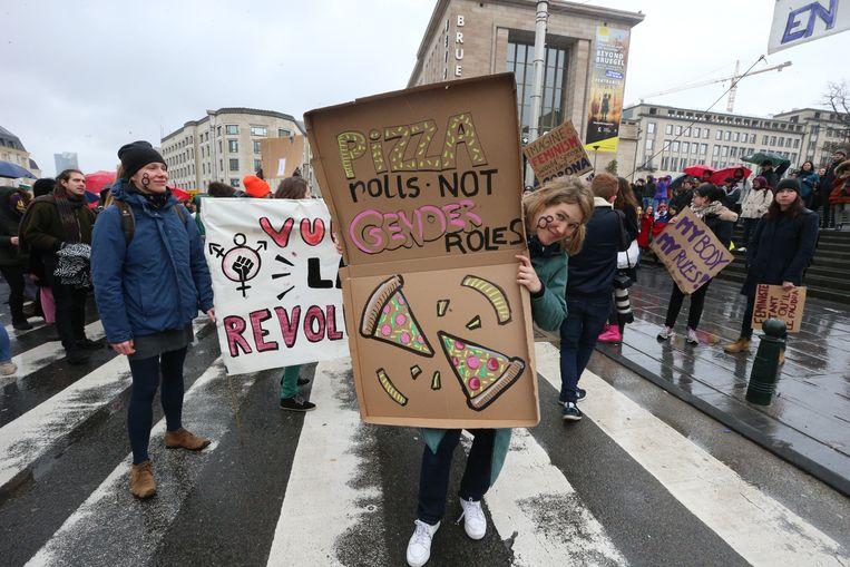 Beeld vanop de 'Vrouwenstaking' in Brussel op Internationale Vrouwendag op 8 maart van dit jaar. Beeld BELGA
