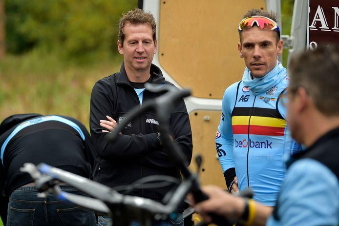 Rik Verbrugghe met Philippe Gilbert voor het WK van vorig jaar. Hij is niet voldoende fit om dit jaar deel uit te maken van de WK-ploeg.