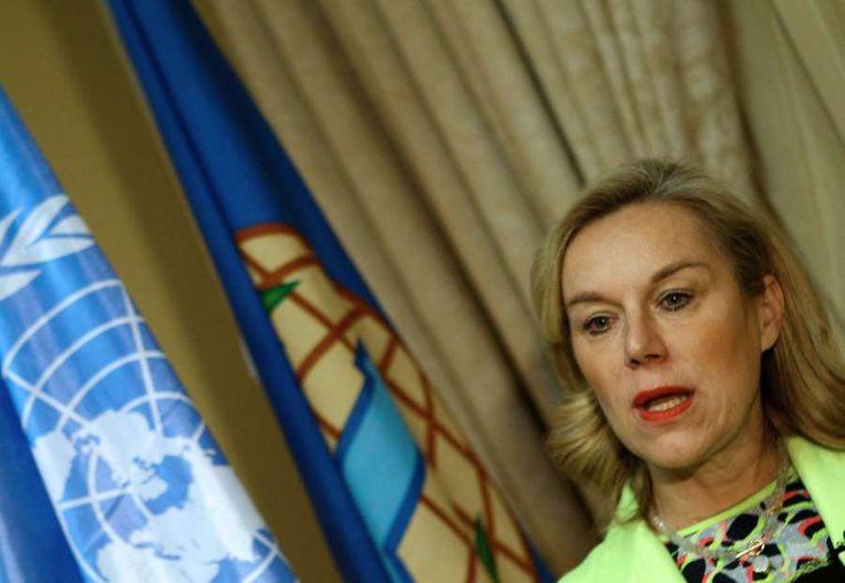 Sigrid Kaag, chef van de missie die chemische wapens uit Syrië moet verwijderen. Beeld afp