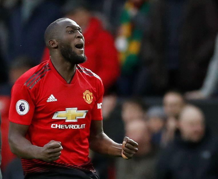 Romelu Lukaku viert een doelpunt voor Manchester United. Beeld Action Images via Reuters