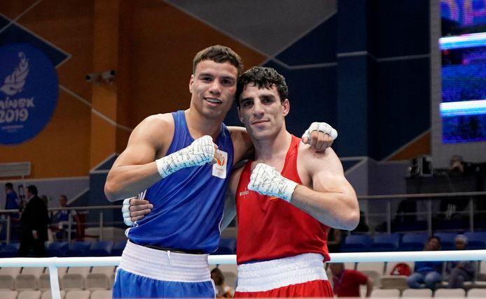 Enrico Lacruz tijdens de Europese Spelen van Minsk met Peter McGrail.