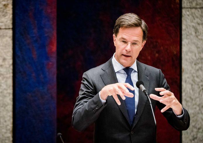 Premier Mark Rutte tijdens het debat over de ontwikkelingen rond het coronavirus.