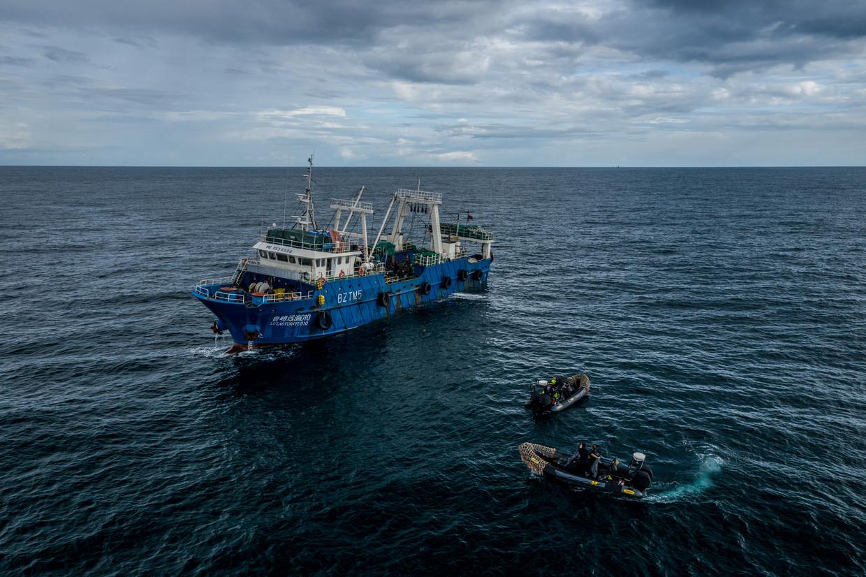 Speedboten van het patrouilleschip Sea Shepherd komt langszij van een Chinees vissersschip in de wateren van Gambia.