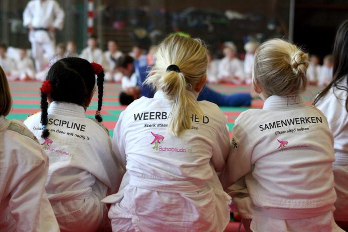 Leerlingen nemen deel aan een proefles judo.