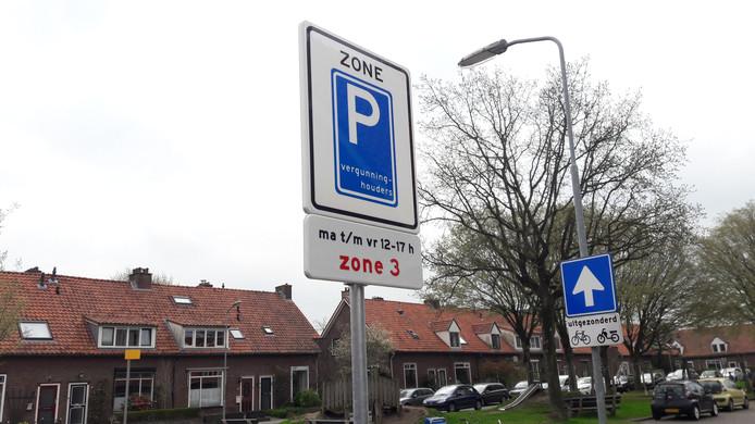 Een parkeerzone in Wageningen