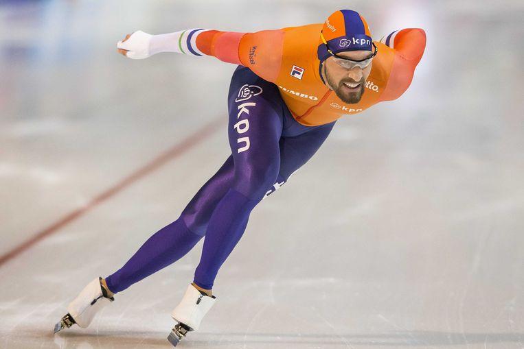 Kjeld Nuis tijdens zijn rit op de 1000 meter bij het wereldbeker schaatsen. Beeld ANP
