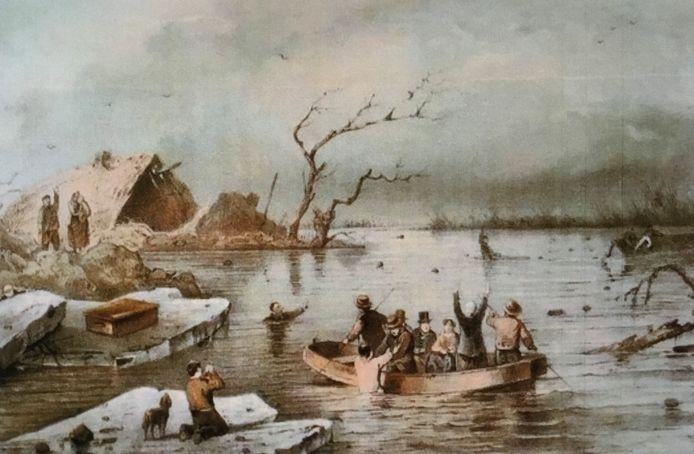 Dirk, Jan en Cornelis van de Weerd en Evert van Kessel schippers uit Leeuwen redden 16 mensen van den dood tijdens de watersnood van 1861