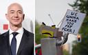 Terwijl Jeff Bezos binnen een prijs ontving, betoogden buiten honderden mensen tegen de 'provocatie' om de prijs uit te reiken aan de Amazon-CEO.