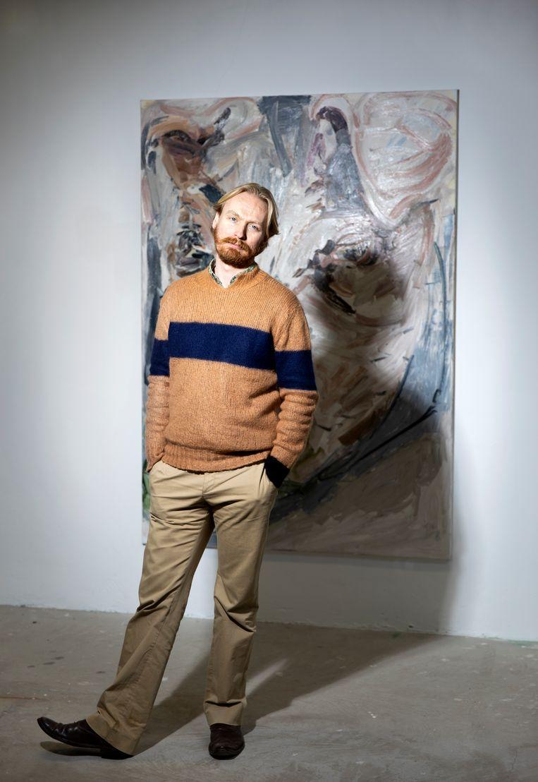 Jaring Dürst Britt van galerie Dürst Britt & Mayhew in Den Haag bij een werk van Wieske Wester. Beeld Judith Jockel