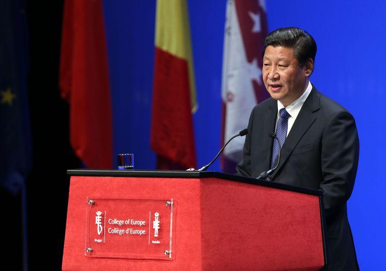 Chinees president Xi Jinping bij de College of Europe in Brugge,  in 2014  Beeld Reporters / Photoshot