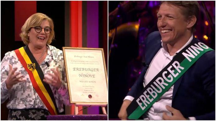 Burgemeester Tania De Jonge huldigt Wesley Sonck tot ereburger van Ninove in De Cooke & Verhulst Show.