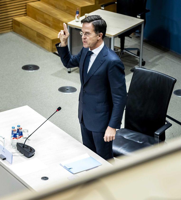 Premier Mark Rutte tijdens zijn verhoor door de parlementaire enquêtecommissie Kinderopvangtoeslag. Beeld ANP