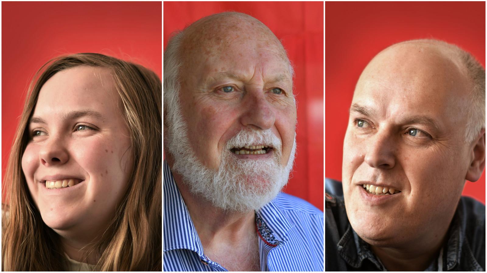 Vlnr: Femke, Piet en Pieter Straub