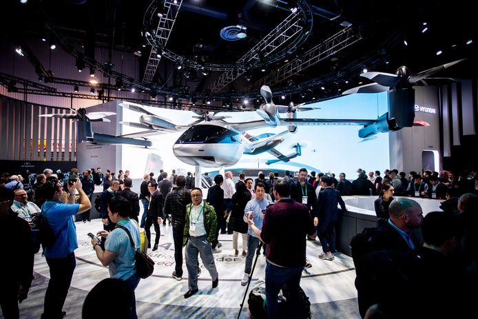 Een prototype van de Hyundai SA-1-vliegende taxi, gebouwd in samenwerking met Uber, werd vorig jaar gepresenteerd op de Consumer Electronics Show (CES) in Las Vegas.
