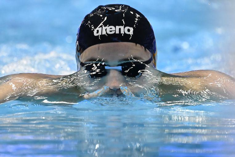 Arno Kamminga op de 200 meter schoolslag tijdens de Europese kampioenschappen in Boedapest. Beeld EPA