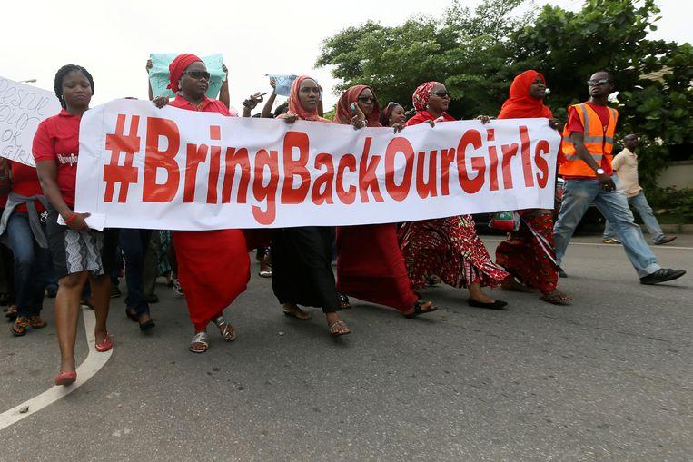 Demonstratie in Nigeria na de ontvoering van de Chibok-meisjes om ze terug te krijgen uit de handen van Boko Haram. Beeld REUTERS