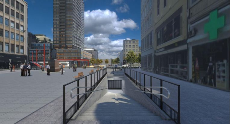 De Teniersplaats wordt een strak, grijs plein met een trap naar de ondergrondse fietsenstalling.