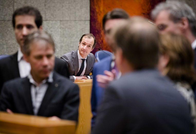 Staatssecretaris Eric Wiebes van Financien in 2017 tijdens een debat over de Belastingdienst. Beeld ANP