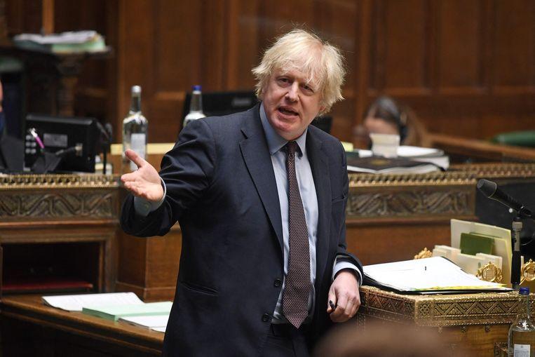 De Britse premier Boris Johnson legt een verklaring af over de