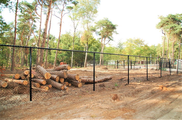 Het hekwerk bij het terrein van Jan de Rooy aan de Kromvensedijk in Middelbeers.
