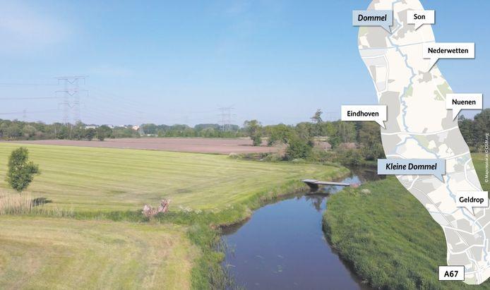 'Kale' oevers van de Kleine Dommel ter hoogte van de Loovelden tussen het Eindhovens stadsdeel Tongelre en de Nuenense wijk Eeneind. Hier moet nieuwe natuur komen vanaf 2027. Rechts is te zien hoe de (Kleine) Dommel stroomt.
