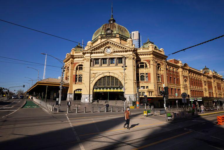 De straten van Melbourne liggen er verlaten bij. Beeld Getty Images
