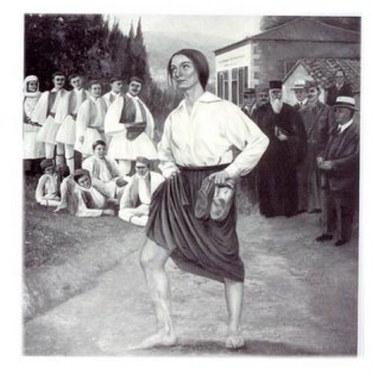 De Griekse Stamata Revithi mocht tijdens de Spelen van 1896 haar marathon één dag na de mannen lopen. Maar omdat ze een vrouw was,  mocht ze het stadion niet in voor de finish.  Beeld