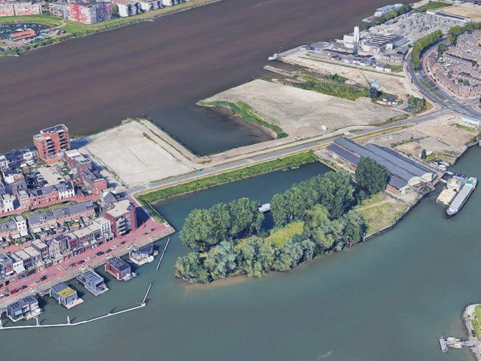 De landtong met links in beeld nieuwbouwwijk Stadswerven en rechts de Biesboschhal.