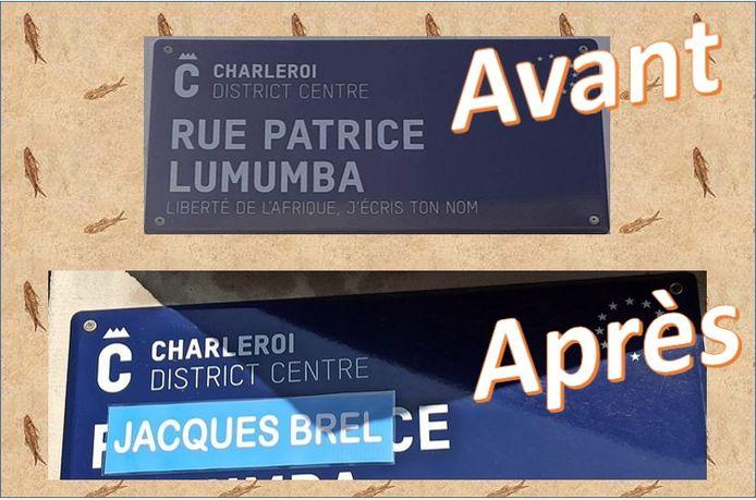 """La plaque de rue """"Patrice Lumumba"""" à Charleroi a été dégradée par un mouvement proche de l'extrême-droite."""