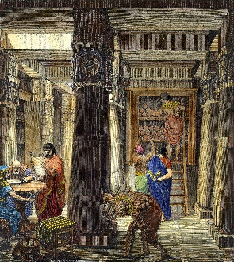 De bibliotheek van Alexandrië. Beeld Heritage Images/Getty Images
