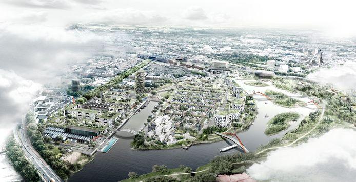 Een schets van hoe het Havenkwartier - met links de Belcrumhaven en rechts de de Mark - er uit in de toekomst uit zou kunnen gaan zien.