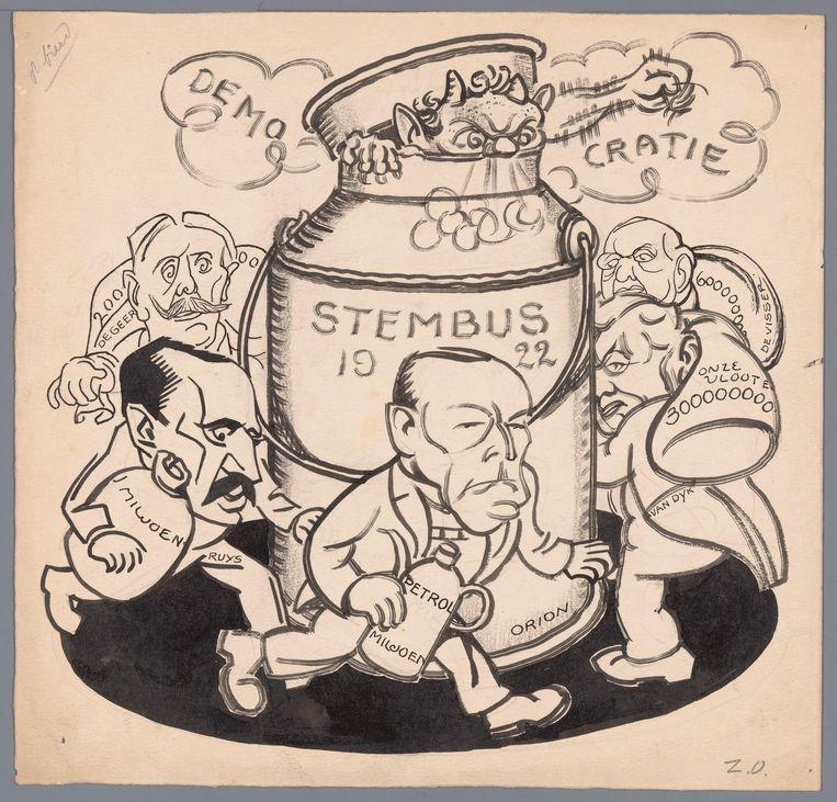 Een spotprent over de verkiezingen van 1922. Beeld