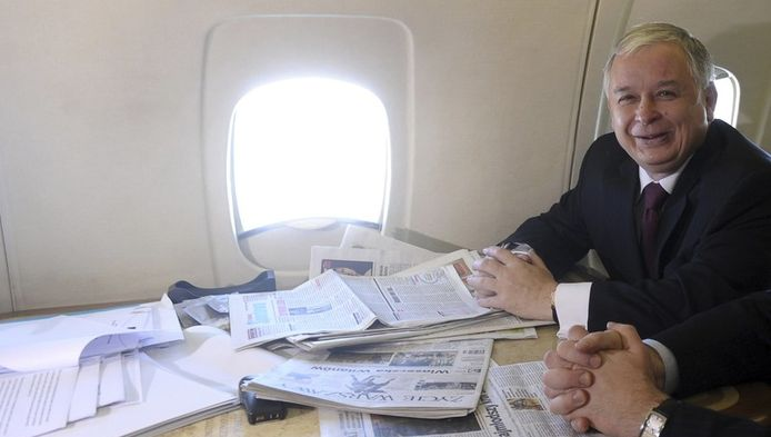 L'une des dernières photos de Lech Kaczynski, à bord du Tupolev.