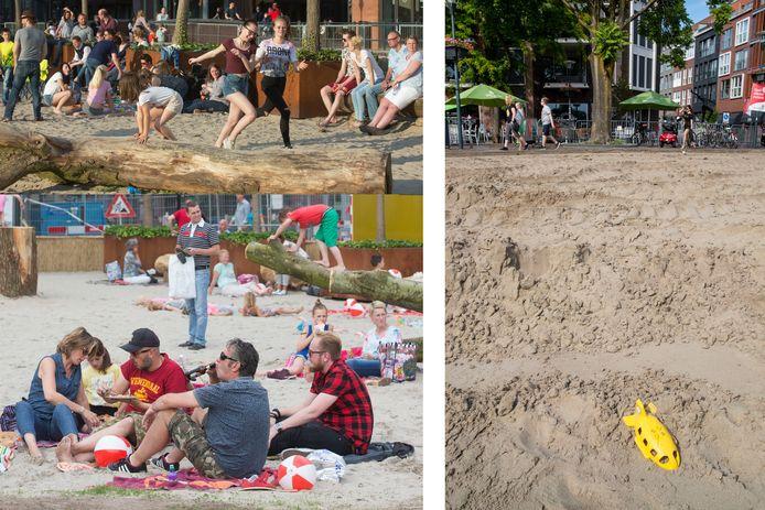 Beelden van het strand in 2015 en 2016, rechts zoals het nu is.