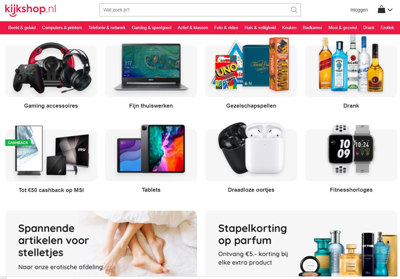 De webpagina van Kijkshop.nl.