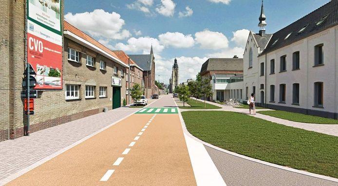 Een toekomstbeeld van de heraangelegde Arme Klarenstraat.