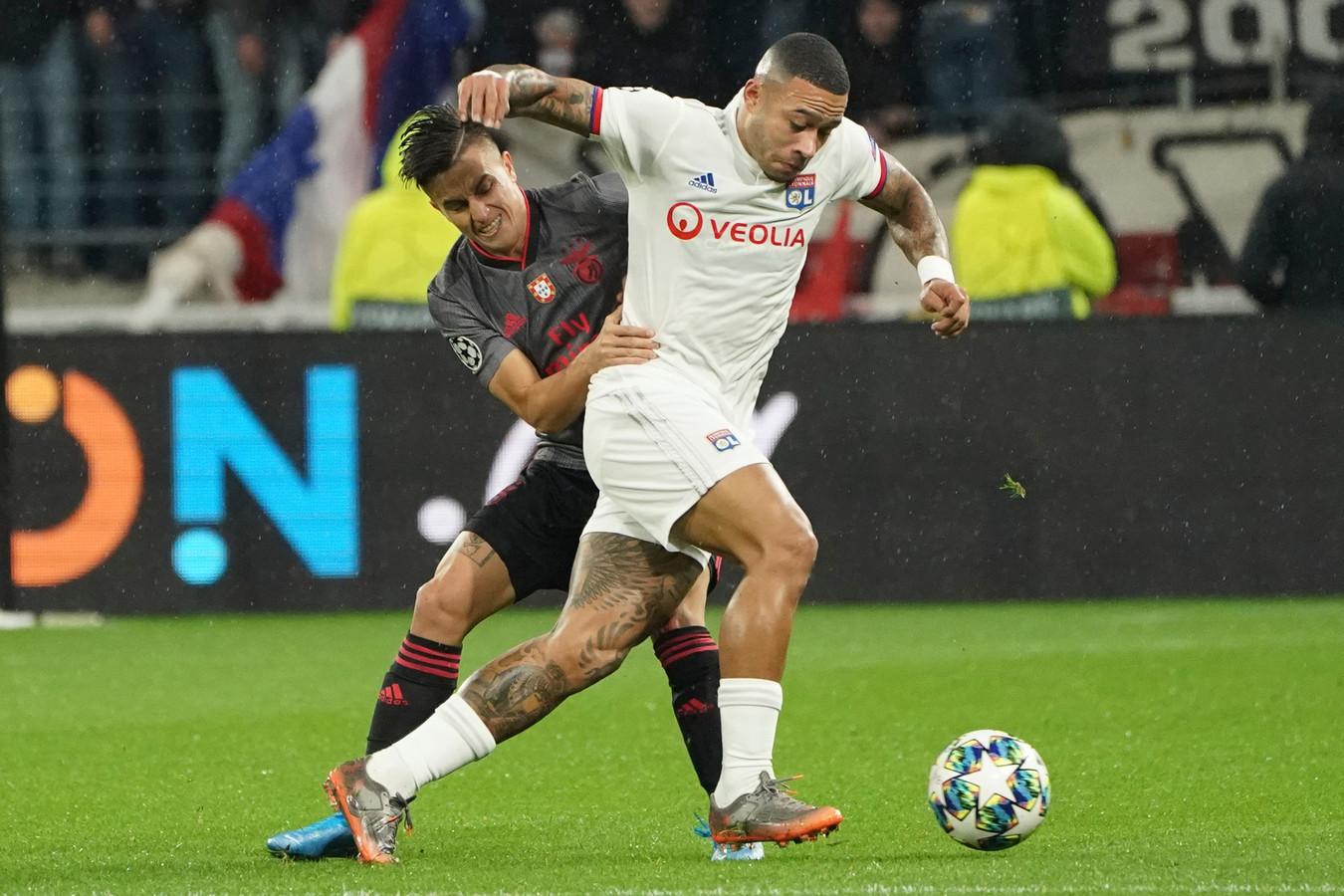 Memphis Depay in actie tegen Benfica afgelopen dinsdag.