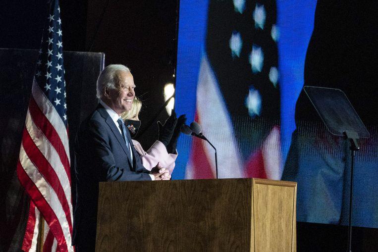 De Democraat Joe Biden houdt een toespraak in de staat Delaware. Beeld EPA
