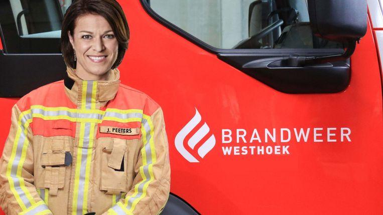 Jill Peeters als brandweervrouw bij de zone Westhoek.