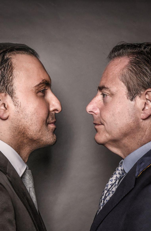 Khalid Benhaddou vs. Bart De Wever. Beeld Koen Bauters