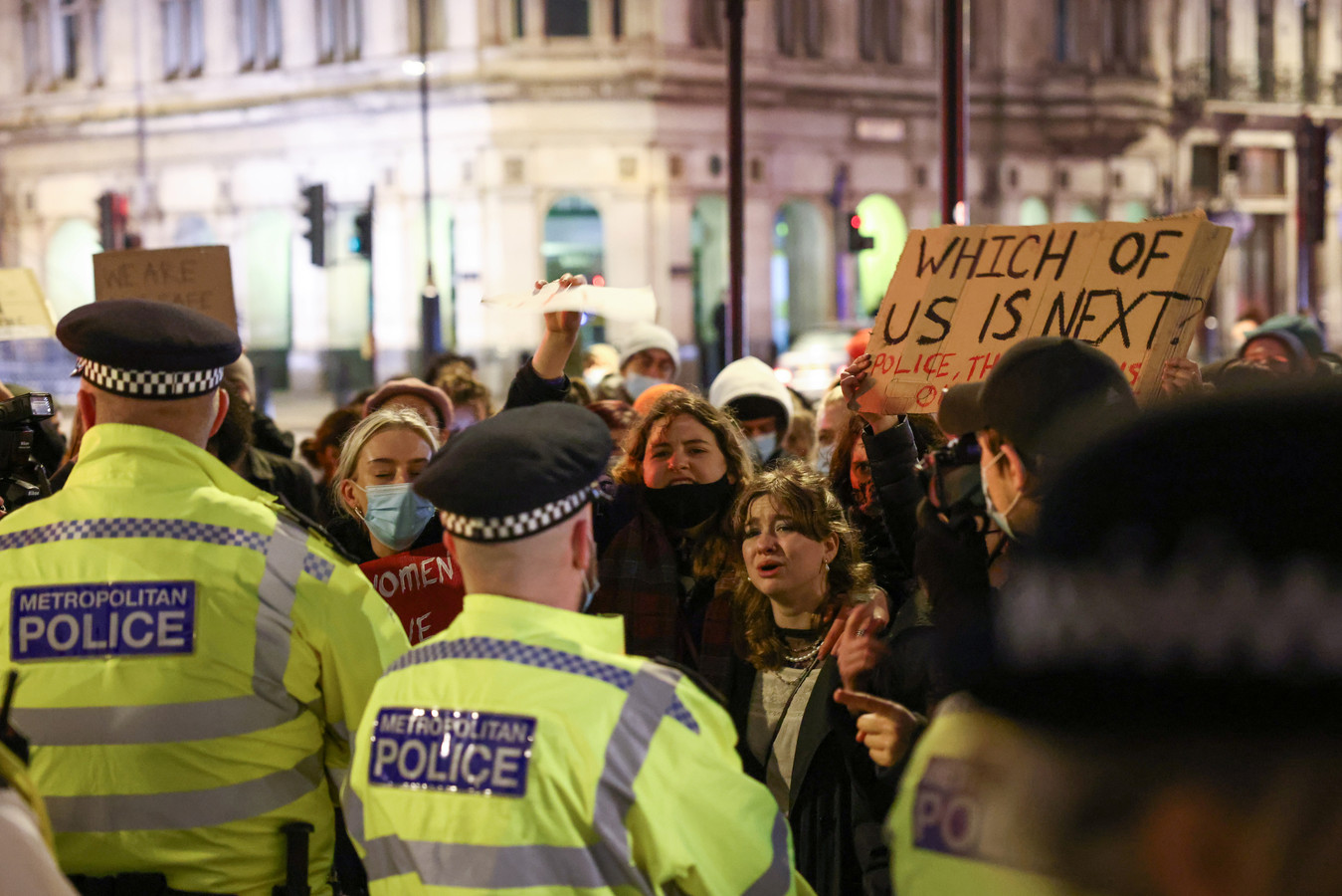 De politie trad hard op bij het protest in Londen.