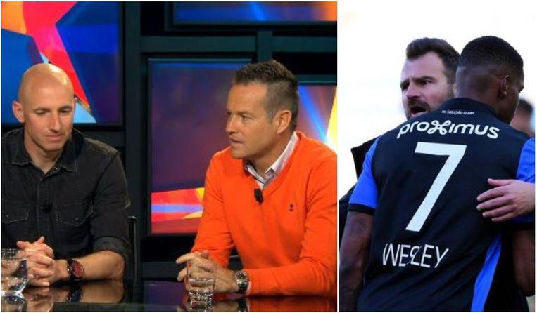 Links: Tim Matthys en Gilles De Bilde in VISTA!: Rechts: Leko in de armen van zijn spits Wesley.
