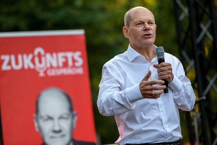 Olaf Scholz tijdens de campagne van de SPD.  Beeld REUTERS