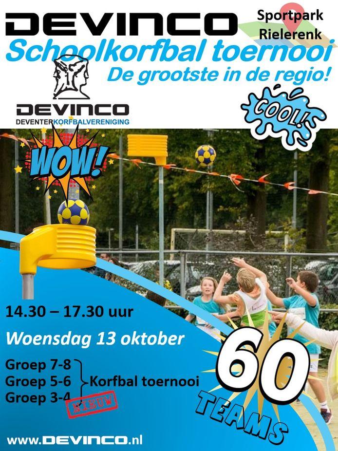 Poster voor het schoolkorfbaltoernooi van Devinco.