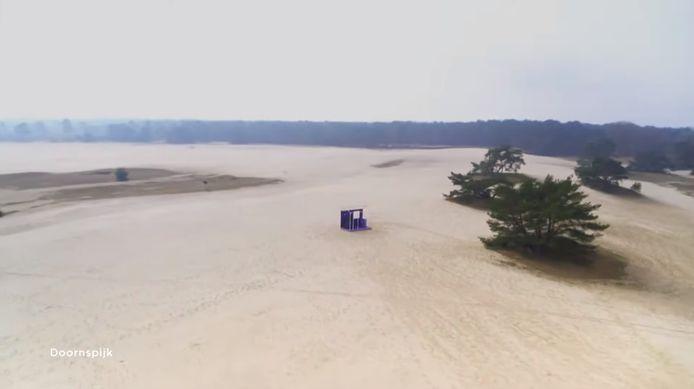 Zandverstuiving De Haere bij Doornspijk was een van de postcards tijdens de finale van het Eurovisie Songfestival.