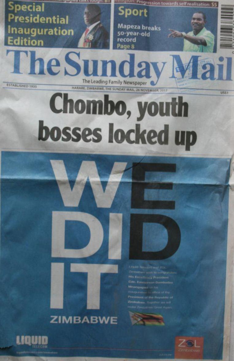 Voorpagina van The Sunday Mail Beeld