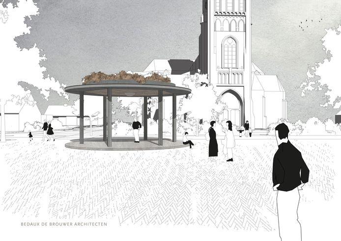 Begin augustus werd bij het plan voor een nieuwe kiosk gekozen voor het ontwerp 'Rank en sierlijk' van Bedaux de Brouwer Architecten uit Goirle.