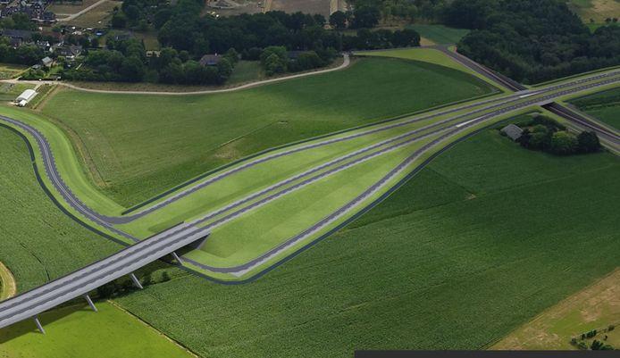 Hier moet de extra aansluiting komen bij Dommelen, een weg van 150 meter die is bedacht om de brede tunnel op de mgr. Smetsstraat te vervangen door een fietstunnel en daarmee het sluipverkeer weg te krijgen.