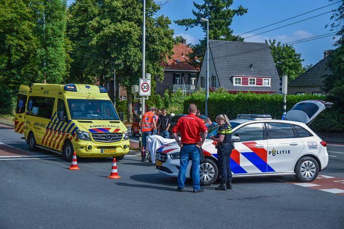 Hulpdiensten na het ongeval in Oosterbeek.