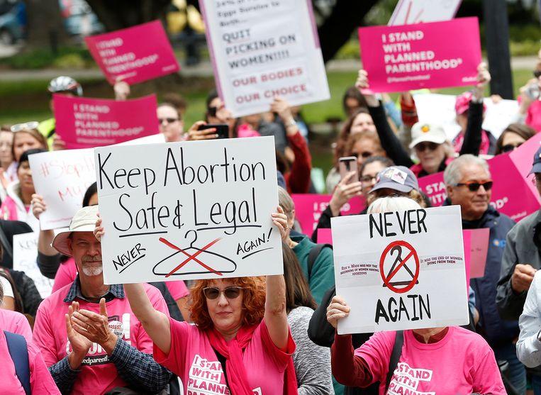 Een manifestatie voor abortusrechten in Californië. Beeld AP